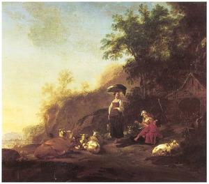 Berglandschap met wasvrouw, rustend vee en herders
