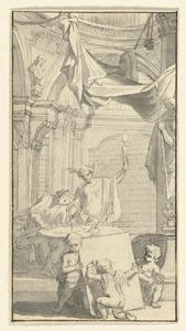 Schrijvende man en allegorische figuur in een bibliotheek
