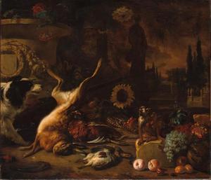 Jachtstilleven met een dode haas, hond, aap, fruit en een zonnebloem