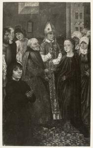 Het huwelijk van Maria. In de voorgrond een stichtersportret (op de achterzijde: Christus als Man van Smarten)