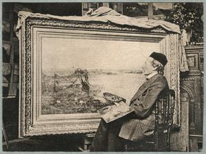 De schilder P.J.C. Gabriel in zijn atelier