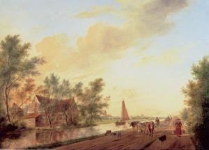Landschap met figurens op een zandweg langs een kanaal