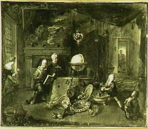 Een echtpaar in een interieur met kostbaar vaatwerk