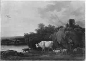 Landschap met herder en zijn kudde bij een drenkplaats