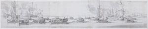 Het bezoek van Charles II aan het oorlogsschip The Tiger, aankomst  bij Woolwich, 17-27 augustus 1681