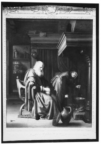 Een rustende oude man en een oude vrouw bij de haard