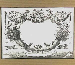 Cartouche met vogels en festoenen, op de achtergrond een landschap