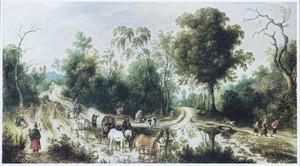Boslandschap met wandelaars, paarden en karren op een landweg