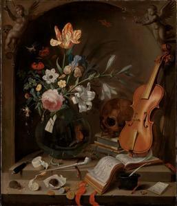 Vanitasstilleven met vaas met bloemen, viool en schedel, in een nis