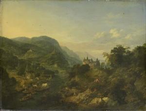 Bergachtig rivierlandschap met kasteel