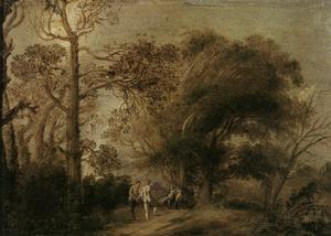Landschap met nimfen en satyrs