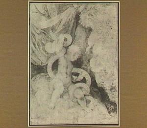 Het kind Hercules wurgt de slangen; op de achtergrond Mercurius en Argus (Theocrites 24)