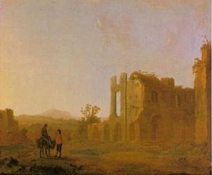 Italianiserend landschap met ruïne van de abdij van Rijnsburg vanuit het zuidwesten