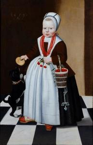 Portret van een tweejarig kind met een hondje