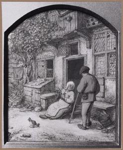 Vrouw met haspel zittend op de drempel van haar huis