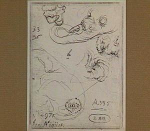 Fragmenten van schetsen van een olifant, een hand, en een kop van een oude man