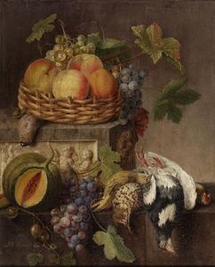 Een mand met fruit op een marmeren console met een relief en dode zangvogels op een lager gelegen stenen plint