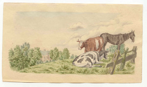 Koeien en paard bij huis De Wildenborch