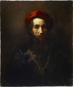 Borststuk van een man met rode baret en gouden ketting
