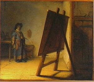 Schilder in zijn werkplaats
