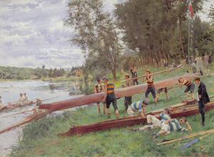 Roeiers op de oever van de Marne