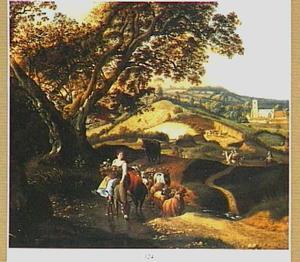 Landschap met gezicht op Henley-on-Thames met een herderin op een ezel met haar kudde
