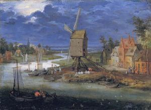 Rivierlandschap met een aanlegplaats bij een molen
