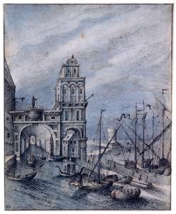 Haven met gebouwen en schepen
