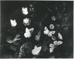 Bosstilleven met bloemen, vlinders en een slang