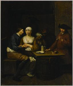 Herberginterieur met een amoureus paar en een rokende man bij een tafel