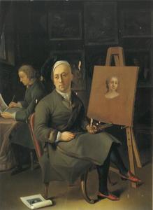 Zelfportret van Justus Jucker (1703-1767) zittend voor zijn ezel met in de achtergrond een leerling die een kopie van een schets maakt