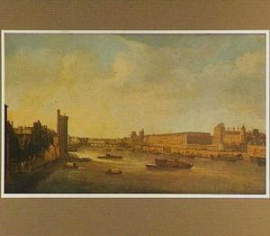 Gezicht op het Louvre in Parijs vanaf de Pont Neuf, links de Tour de Nesle