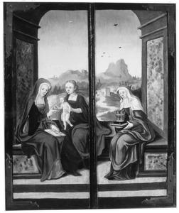 De H. Anna-te-Drieën (links) en de H. Elisabeth van Hongarije (rechts)