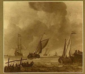 Vissers voor de kust, rechts een aanlegsteiger