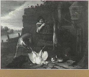 Vrouw op boerenerf, links een doorkijk naar een rivier