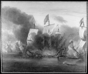 """Brandaanval op de """"Royal James"""", vlaggeschip van de Earl of Sandwich, tijdens de Zeeslag bij Solebay, 7 juni 1672"""