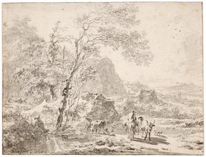 Zuidelijk landschap met figuren bij een waterpoel