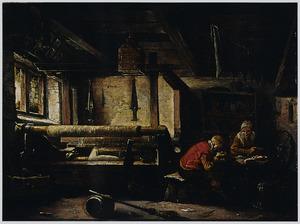 Twee wevers aan de maaltijd in hun weverijtje