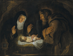 De HH. Clara en Franciscus van Assisi het kind aanbiddend