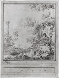Behangselvlak met omlijsting en lambrisering met een arcadisch landschap met een tombe
