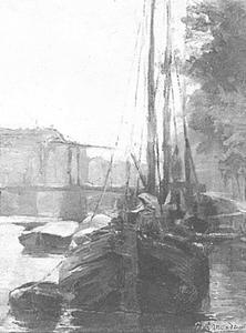 Waalseilandsgracht met brug en afgemeerde tjalken