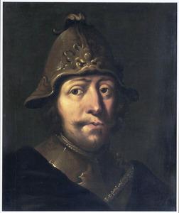 Tronie van een soldaat met helm en halsberg