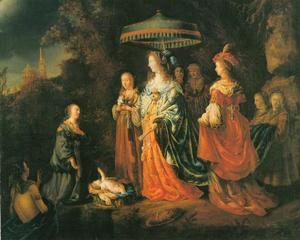 Het vinden van Mozes door de dochter van farao (Exodus 2:5-6)