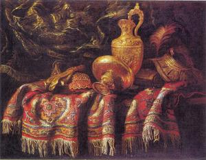 Stilleven met pronkstukken, oosters tapijt en draperie