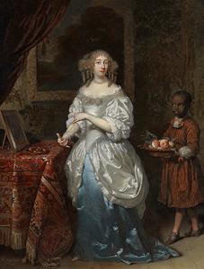 Portret van Lidia van Vredenburch (?-1679), met een bediende