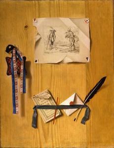 Trompe l'oeil met een prent van Callot en andere objecten