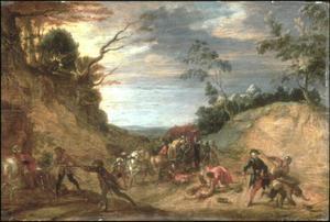 Berglandschap met reizigers die aangevallen worden door rovers