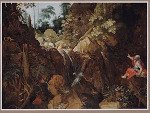 Woest berglandschap met de profeet Elia, door de raven gevoed (1 Koningen17:1-6)