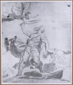 De engel weerhoudt Abraham Isaak te offeren  (Genesis 22:10-12)