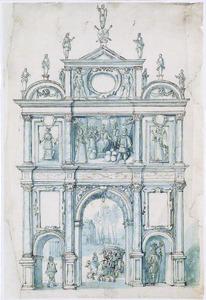 Ontwerp voor triomfpoort opgericht voor de Sint- Michielsabdij tijdens de Blijde Intocht van de Aartshertogen Albrecht en Isabella in Antwerpen, 10 december 1599